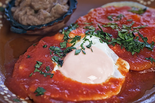 Ranch Style Eggs served with refried beans